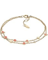 Fossil - Semi-precious Double-chain Bracelet - Lyst