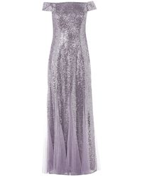 Adrianna Papell Adrianna Bardot Sequin Dress - Purple