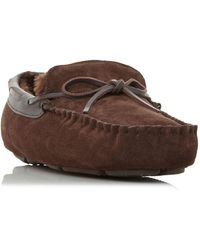 Dune Freeze Faux Fur Tie Moccasins Slippers - Brown