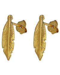 Azendi - Sterling Silver Yellow Feather Stud Earr - Lyst