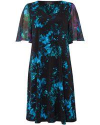 Ellen Tracy - Flutter Sleeve Printed Shift Dress - Lyst