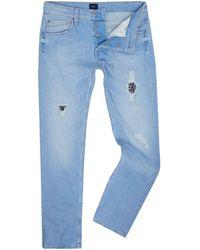 Pepe Jeans Zinc Bleached Patch Denim Jeans - Blue