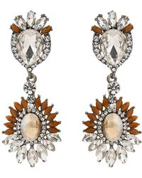Mikey | Oval Crystals Attach Crystals Earring | Lyst