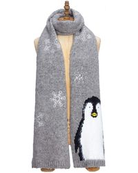 Yumi' Textured Penguin Scarf - Gray