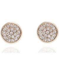 Anne Klein - Pave Button Stud Earrings - Lyst