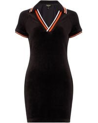 Juicy Couture Stretch Velour Polo Shirt Dress - Black