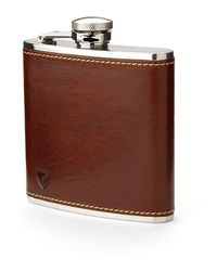 Aspinal of London Classic 5oz Leather Hip Flask - Brown