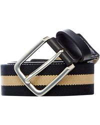 Howick - Elasticated Cotton And Leather Striped Belt - Lyst