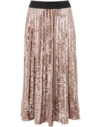Label Lab - Velvet Pleated Skirt - Lyst
