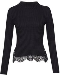 French Connection - Nicola Knits Lace High Neck Jumper - Lyst