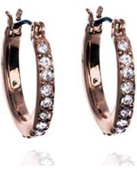 Anne Klein - Mini Hoop Crystal Earrings - Lyst