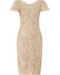 Marina V Neck Dress With Flutter Sleeves - Metallic
