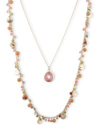 Lonna & Lilly - Two Row Shaky Nested Pendant Necklace - Lyst