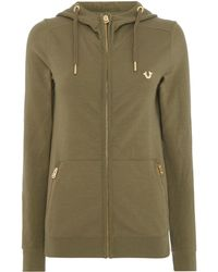 True Religion | Hooded Zip Up Jacket With Zip Pockets | Lyst