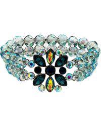 Monet - Peacock Crystal Bead Stretch Bracelet - Lyst