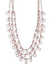 Anne Klein - Rose Gold 3 Row Necklace - Lyst
