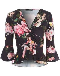 Jane Norman - Floral Frill Twist Front Top - Lyst