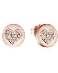 Guess - Heart Devotion Sparkle Coin Stud Earring - Lyst