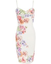 Jane Norman - Floral Punchout Bodycon Dress - Lyst