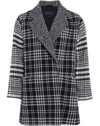 French Connection Belinda Check Slouchy Coat - Black