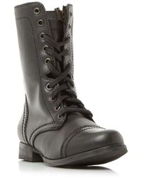Steve Madden Troopa Sm Lace Up Worker Calf Boots - Black