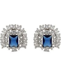 Mikey - Cubic Square Centre Stud Earring - Lyst