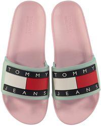 Tommy Hilfiger Flag Logo Sliders - Pink
