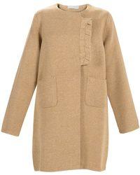 Stefanel - Mouline Cotton Coat With Braiding - Lyst