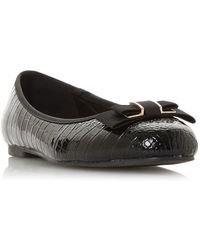 Dune Hyria Round Toe Ballerina Shoes - Black