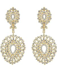 Mikey - Fine Filligree Oval Crystal Drop Earring - Lyst