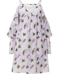 4a207c6c5 Lost Ink - Edie Pansy Print Cold Shoulder Dress - Lyst