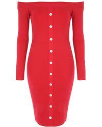 Jane Norman Red Popper Front Bardot Dress