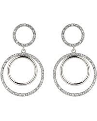 Mikey - Twin Circle Embed Cubic Drop Earring - Lyst