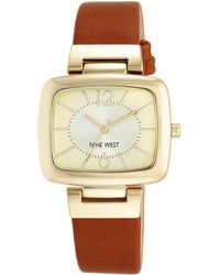 Nine West - Brown Strap Square Beige Dial Watch - Lyst