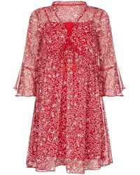 Yumi' Abstract Floral Print Tunic Dress - Red