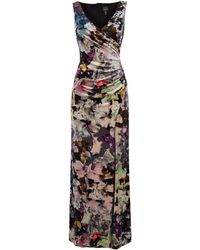Adrianna Papell - Sleeveless V Neck Velvet Dress With Floral Print - Lyst