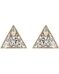 Mikey - Triangle Crystal Clipon Earring - Lyst