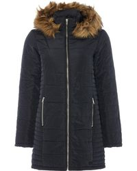 Vero Moda | Longline Padded Coat With Fur Trim Hood | Lyst