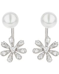 Mikey - Sun Flower Drop Pearl Top Earring - Lyst