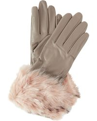 Ted Baker - Faux Fur Cuffed Leather Glove - Lyst
