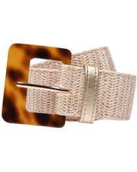 Biba Woven Raffia Belt - White