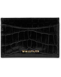 Whistles Shiny Croc Card Holder - Black