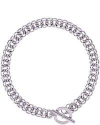 Karen Millen - Silver Encrusted Bar & Hoop Necklace - Lyst
