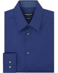 Kenneth Cole Wood Stretch Shirt With Trim - Blue