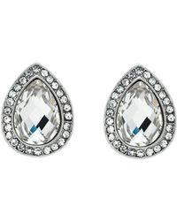 Monet - Silver Crystal Teardrop Earrings - Lyst