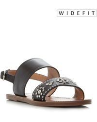 Dune - Luma Wide Fit Stud Strap Flat Sandals - Lyst