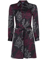 Armani Jeans - Wrap Floral Shirt Dress In Fantasia Nero - Lyst