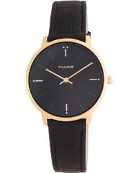 Pilgrim - Gold Plated Black Croc Print Watch - Lyst