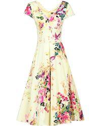 Jolie Moi Floral Print V Neck Swing Dress - Yellow