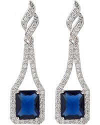 Mikey - Edge Link Cubic Centre Drop Earring - Lyst